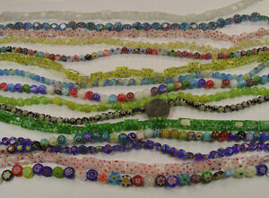 15 STRANDS ASSORTED MIX MILLEFIORI GLASS BEADS LOT (MF-4)