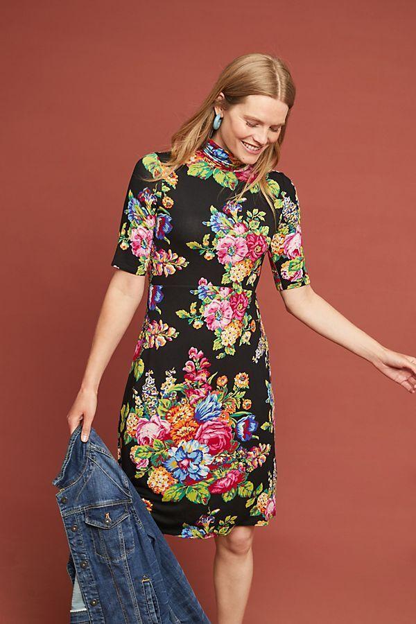 New Anthropologie Coreyell Turtleneck Dress by ett twa schwarz Floaral L Sold Out
