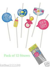 Baby Shower Unisex Boy Girl Confezione da 12 Cannucce Prop