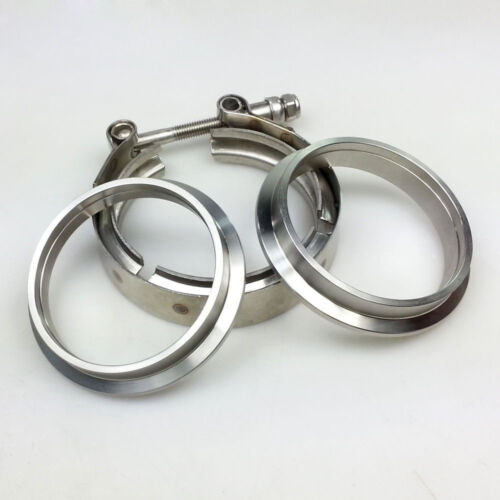2.5/'/' Car Turbo Exhaust Downpipe Silver Stainless V-Band Clamp with 2 Flange Kit