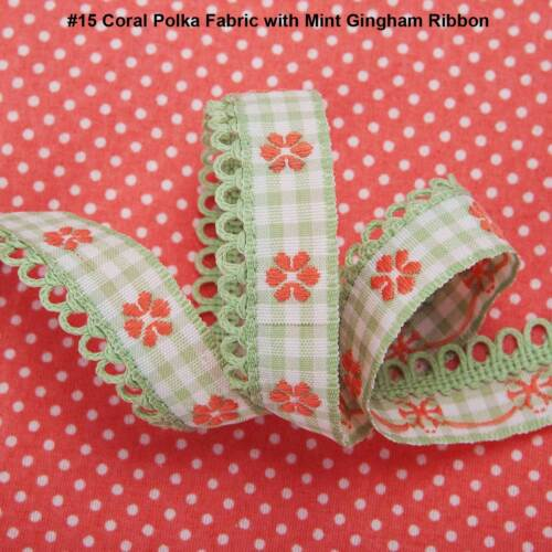 Neotrims Polka Dot Woven Fabric Materail /& Decorative Folk Ribbon Combo Set