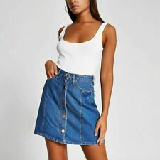 River Island Womens Blue Button Front Denim Mini Skirt