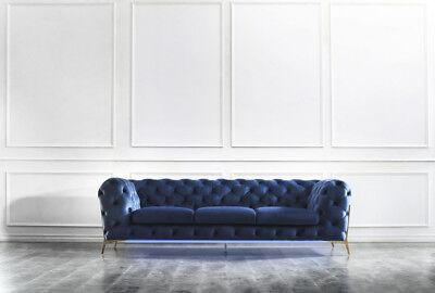 Utile Chesterfield Sedile Tessile Tessuto 2 Posti Salotto Divano Sofa Set Imbottiti-mostra Il Titolo Originale