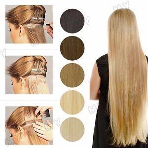 Long-Straight-Tape-In-100-Real-Remy-Virgin-Human-Hair-Extensions-Blonde-USBS033
