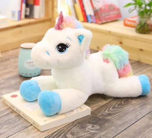 40-80CM Large Cute Plush Unicorn Teddy Stuffed Super Soft Cuddly Toy Lying Horse