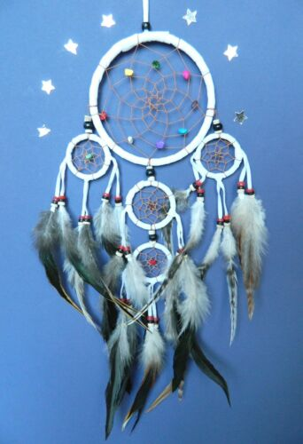 DREAM CATCHER WHITE CREAM NATURAL IVORY TRADITIONAL INDIAN STYLE DREAMCATCHER
