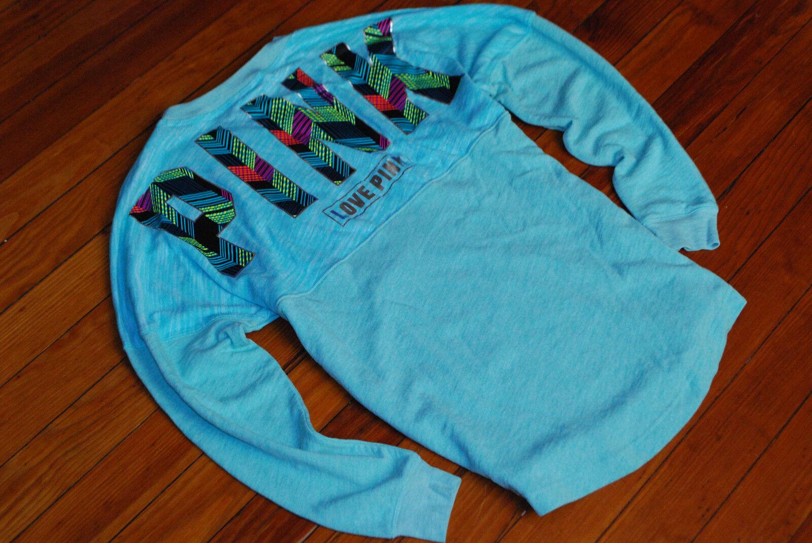 NEW PINK by Victoria's Secret Mint Aqua Lightweight Sweatshirt (Small, Medium)