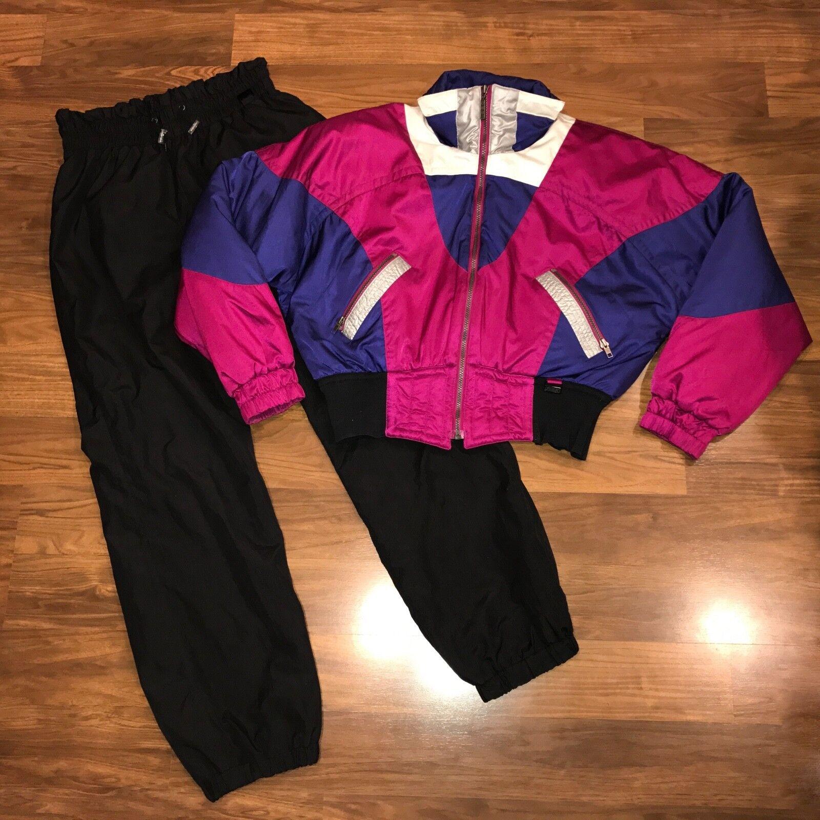 Vtg 80s 90s OSSI Two piece SNOWSUIT Womens LARGE Ski  Snow Suit Coat Bib Pants L  deals sale