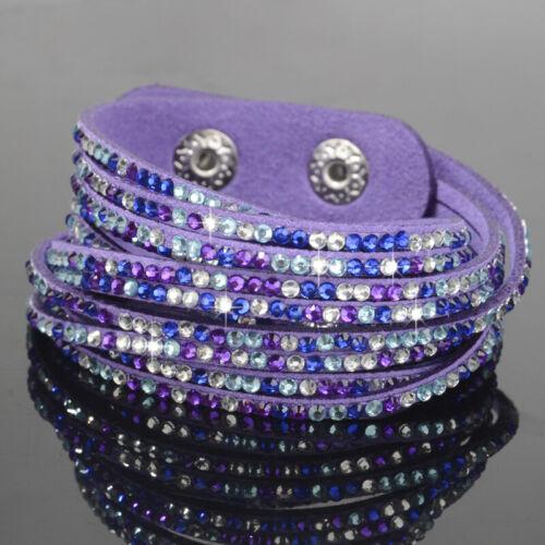 Women Leather Wrap Wristband Cuff Slake Crystal Rhinestone Bracelet Bangle