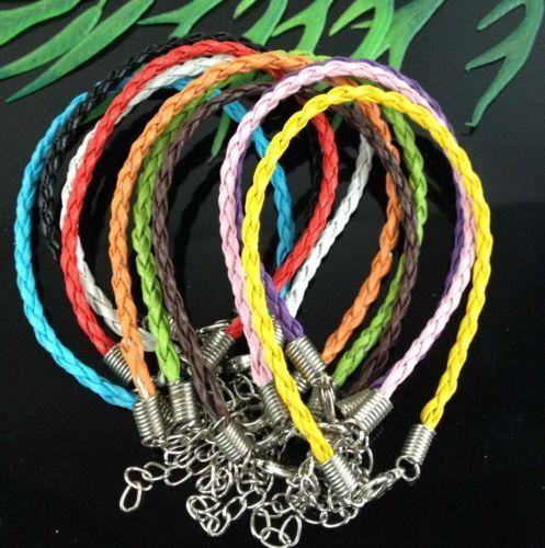10//100pcs Mixed Color Twist Leather Cord Rope Bracelets Bangle Fashion Charms