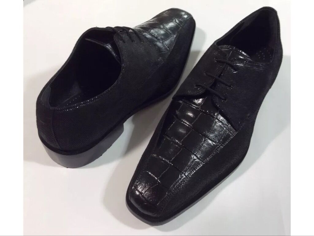Herren Formelle Schuhe Liberty Leder Oben Oxford Schwarz Krokodil-Aufdruck,Neu &    | Vollständige Spezifikation
