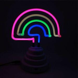 Rainbow Neon Sign LED Light Lamp Real Glass Bulb Tube USB Battery Home Lighting