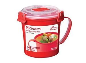 Microwave Soup Mug 656 Ml Red Clear With 1109 Microwave Noodle Bowl Red 940 Ml
