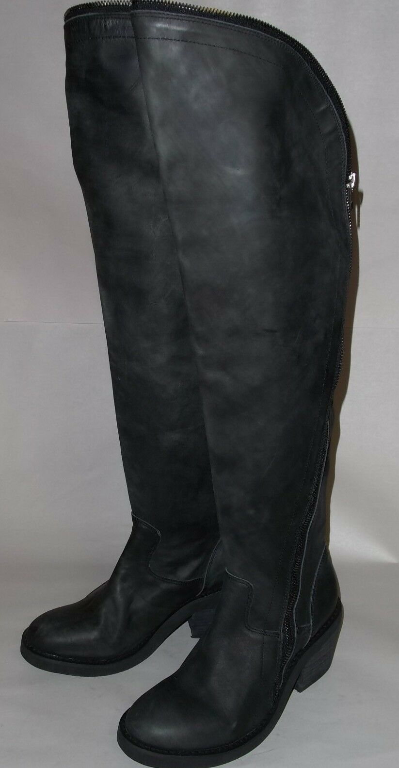 Jeffrey Campbell Black Airtight Over the Knee Zippered Boots 7.5 NWOB