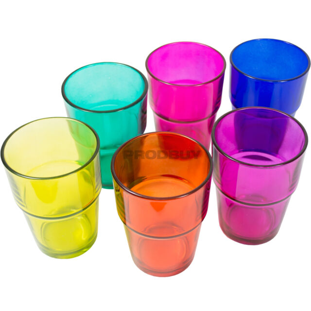 Set of 6 Assorted Multi Colour 190ml Glass Mixers Cold Juice Drinking Tumblers