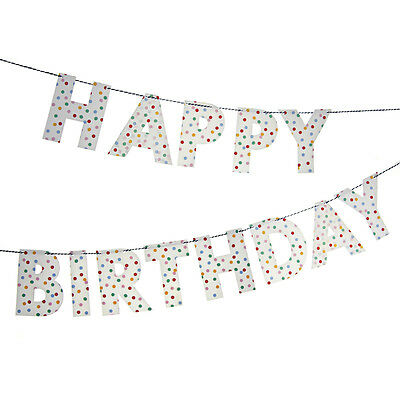 Meri Meri Spotty Toot Sweet Happy Birthday Party Bunting Garland Banner
