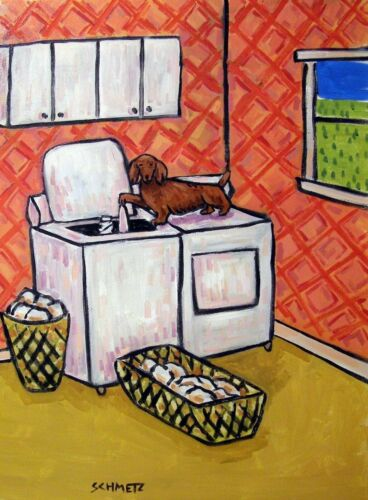 DACHSHUND LAUNDRY room  art print 8x10 animals impressionism