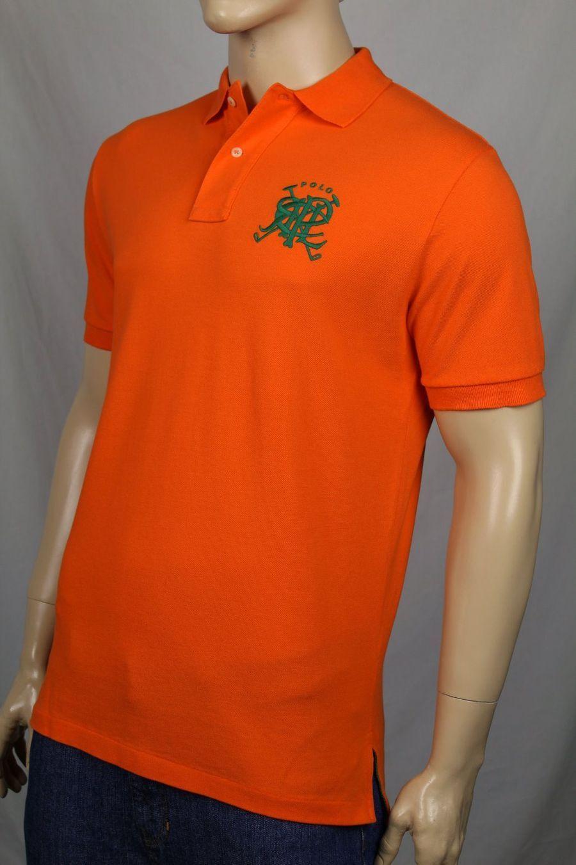 Ralph Lauren Medium M orange Mesh Polo Shirt Classic Fit Green PRL NWT
