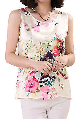 New 100% Mulberry Silk Women Tank Top Sumemer Clothing Floral Shirt Basic Tops