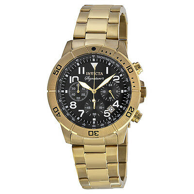 Invicta Signature II Chronograph Black Dial Gold-tone Mens Watch 7470