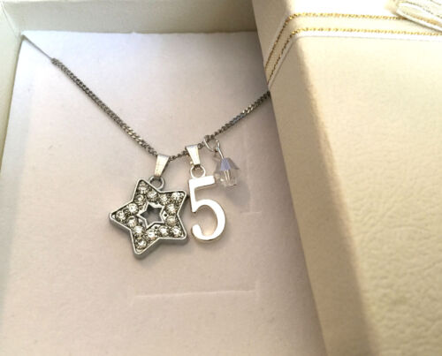 Personalised girls daughter niece sister twinkle star initial age necklace gift