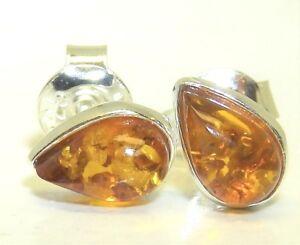 Handmade Cognac Amber Teardrop Studs Orange Pear Earrings Sterling Silver