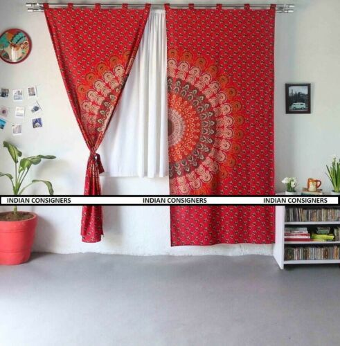 Mandala Curtain Door Window Cover Drape Indian Cotton Red Wall Hanging Ombre Art