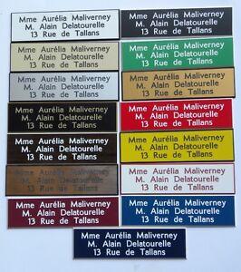 Plaque-de-boite-aux-lettres-3-lignes-10x2-5-cm-15-couleurs-au-choix-biseautee