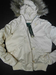 8ac1448f9c RALPH LAUREN WOMEN HOODED DOWN SKI JACKET COAT CREAM FAUX FUR M ...