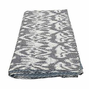 Ikat Queen Kantha Quilt Bedspread Blanket Throw Indian Bedding Ralli gudri