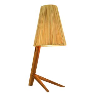 Tisch-Leuchte-Teak-amp-Bast-Kraehenfuss-Lese-Lampe-Vintage-Osterreich-50er-Jahre