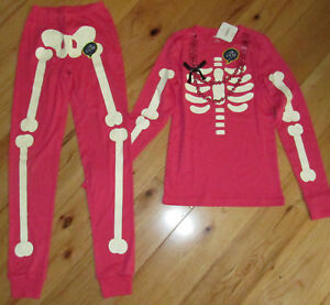 b17b2e239 Gymboree Glow in the Dark pink skeleton pjs gymmies pajamas NWT XS ...