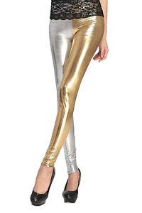 New-WomenSplit-Skinny-Metallic-Shiny-Liquid-Wet-Look-Long-Leggings-Tight-Pants
