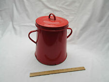 Vintage large red enamel storage canister container or quirky waste paper bin .