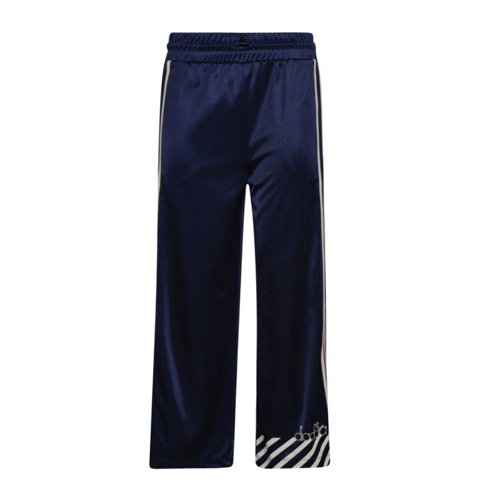 Pantalone Donna Diadora Sport Vita Alta Blu Fantasia Barra Logo Righe Bianche