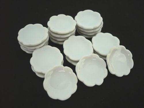 White Scalloped Plates Dollhouse Miniatures Ceramic Supply 20x15 mm