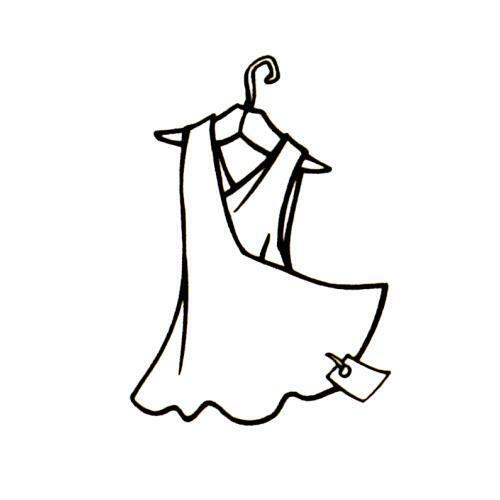 DRESS with tag on hanger unmounted rubber stamp clothing #5 ladies fashion