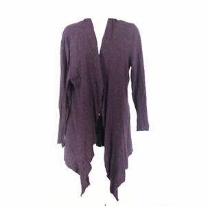 Eileen Fisher Cotton Linen Cardigan Purple Women's Medium Open Front Long Sleeve