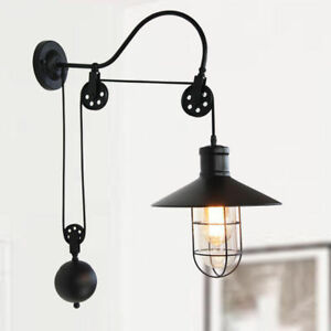 industrial barn gooseneck indoor wall sconce lamp fixture pulley wall light ebay. Black Bedroom Furniture Sets. Home Design Ideas