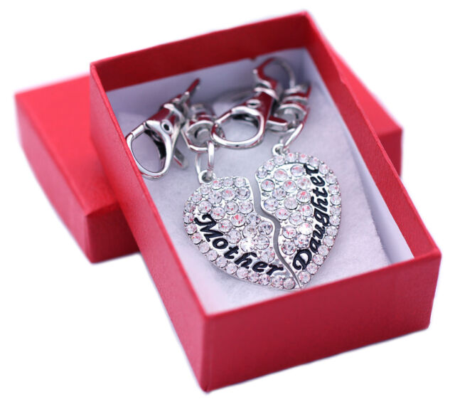 Mother Mom Daughter BFF Best Friends Foreve Heart Charm Key Chain Birthday Gift