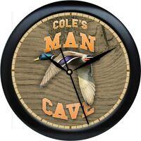 Personalized Mallard Duck Man Cave Wall Clock Outdoorsman Gift