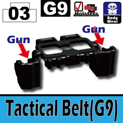 W38 Black Tactical Belt G9 belt dual holster compatible with toy brick minifig