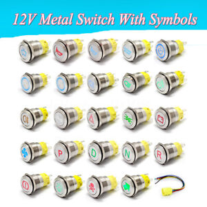 19mm-12V-Metal-Push-Button-Switch-LED-Light-DashBoard-Van-Marine-Boat-Race