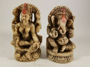 Vintage-Set-Two-Statues-Of-Ganesha-and-Lakshmi-Hindu-Gods-5-5-034-tall
