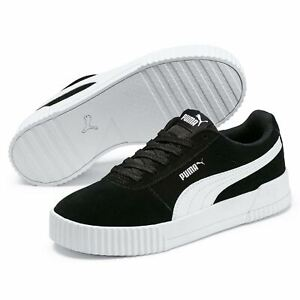 Details about Womens Puma Carina Suede Trainers Lace Up Stripe New
