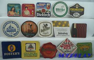 Vintage-Some-Modern-RARE-Lot-of-15-Mixed-Pub-Beer-Advertising-Drink-Bar-Coasters
