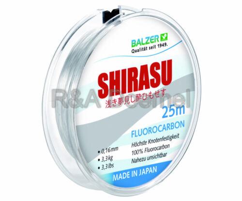 verschiedene Schnurstärken BALZER SHIRASU FLUOROCARBON SCHNUR = 25 Meter