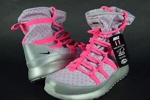 New-Nike-Rosherun-Hi-Sneakerboot-Flash-GS-688541-001-sz-5Y-6Y-wolf-grey-pink