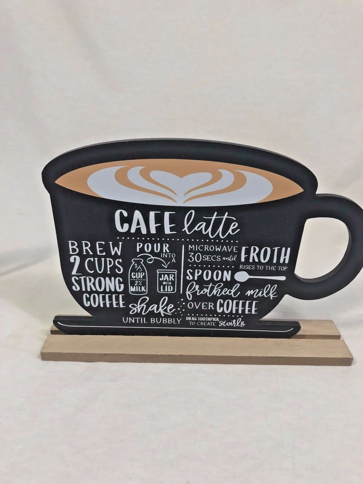 Coffee Bar Sign Mug shaped cocoa hot chocolate peppermint 2 sided chalkboard lg