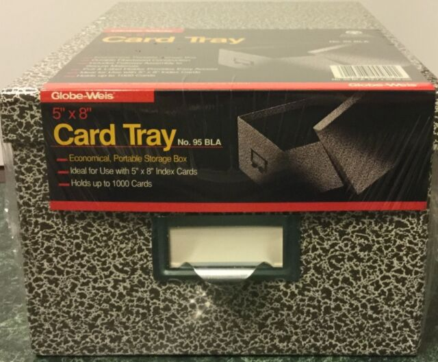 Black//White 2 Pack Holds 1,200 5 x 8 Cards Lift-Off Cover Oxford 40590 Reinforced Board Card File